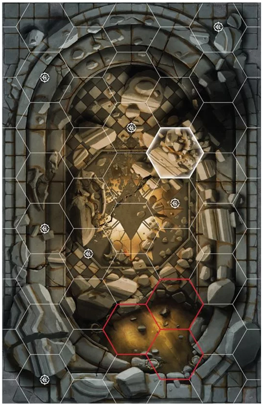 Forbidden Chambers Board with three lethal hexes.